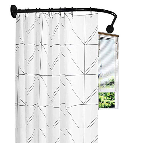 DFGENLY Shower Curtain Rod Black, Scalable L-Shaped Tension Shower Rod for Bathroom, Curved Support Holder with Waterproof Shower Curtain and Hook, Keep The Bathroom Dry, Punch/Free Punch