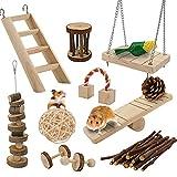 bestfire giocattolo per criceti 12 pc piccoli animali domestici giocattolo molare cavia in legno giocattoli ratti cincillà giocattoli criceto giocattoli da masticare accessori