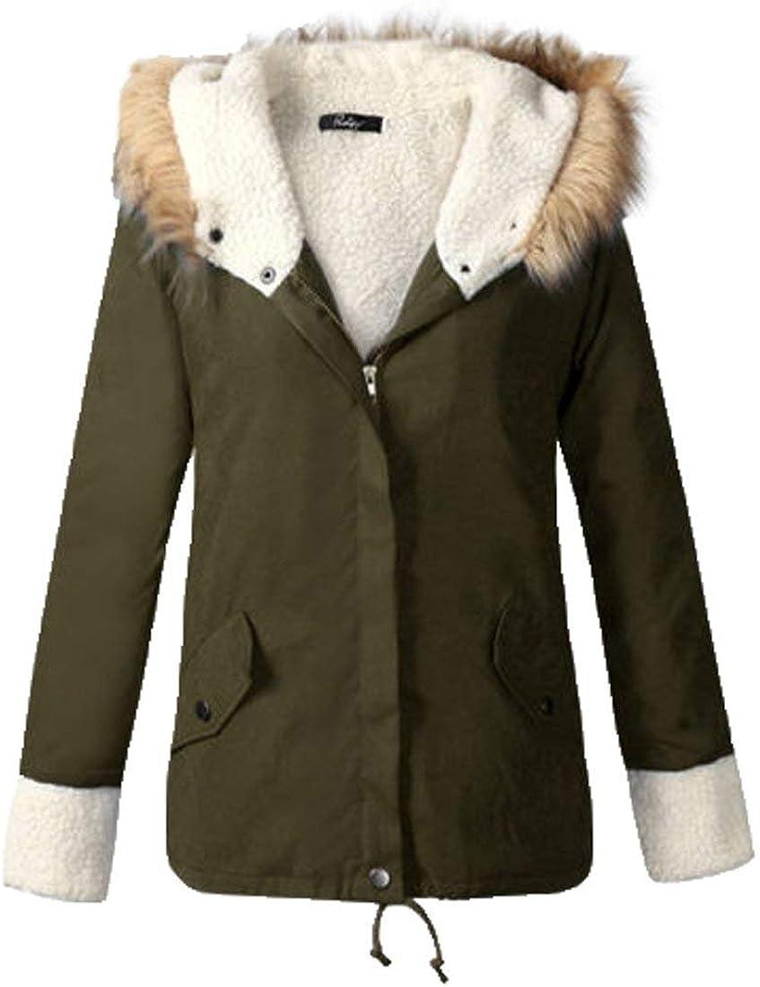 newfacelook Womens Faux Fur Jackets Ladies Parka Jacktes Hooded Winter Coats