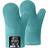 Gorilla Grip Slip and Heat Resistant Silicone Oven Mitts, Soft Quilted Lining, Extra Long, Waterproof Flexible Gloves for Cooking and BBQ, Mitt Potholders, Kitchen Décor, Turquoise Pair, Set of 2