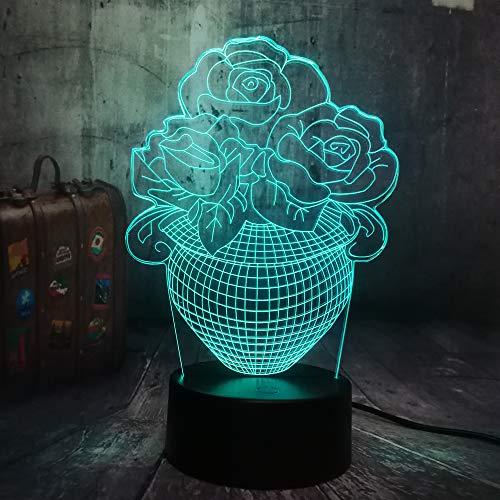 3D LED afstandsbediening touch control Valentijnsdag mooie roos tafellamp bedlampje 7 kleuren USB liefde huwelijk romantisch koppel vakantie en kerstcadeau
