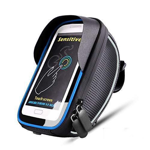 Outdoor Ciclismo Borsa della bicicletta impermeabile touch screen bicicletta manubrio Mountain Bike Front Beam Bag adatto per telefoni cellulari sotto 6,5 pollici, Azul (Blu) - 1356050