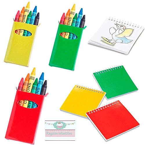 Lote de 20 libretas con Plantillas más 20 Cajas con 6 Ceras Cada Caja, para Colorear. Regalos para Eventos Infantiles, guardería, cumpleaños