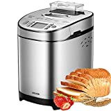 Bread Maker, AICOOK 2LB Stainless Steel Bread Machine with Gluten-Free Setting, Fruit Nut Dispenser, Large LCD display, Nonstick Pan, 3 Crust Colors & Keep Warm Set, Recipes
