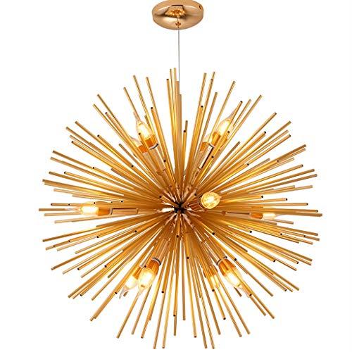 XYJGWDD Post-Moderne Golden Spark Ball Restaurant Luminaire Suspendu 9 Têtes Nordique Chaud Chambre Personnalité Lustre Plafonnier Lampe (Size : Diameter 50cm)