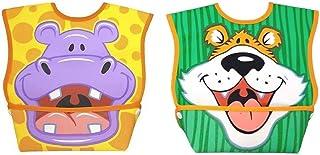 Dex Baby Dura-Bib Big Mouth, 2 Pack, Tiger/Hippo