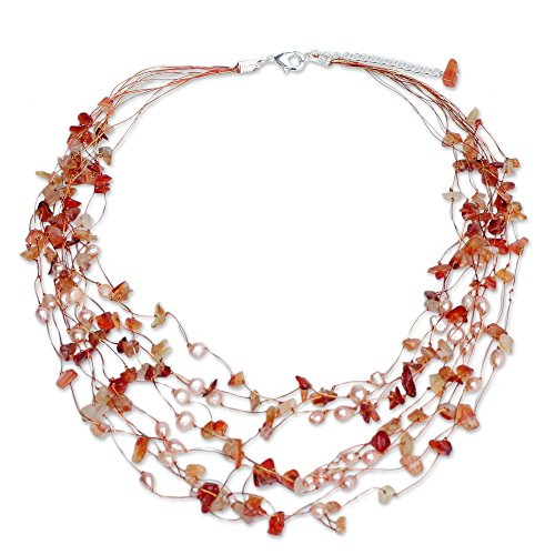 """NOVICA Dyed Cultured Freshwater Pearl and Carnelian Beaded Necklace, 20"""","""