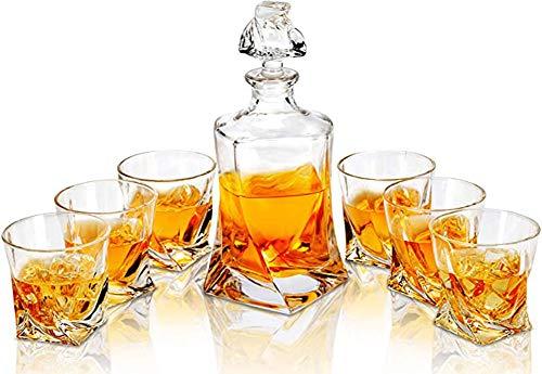 Set de regalo Whisky Stones para hombre | Jarra de whisky con juego de vasos y caja de madera, vasos de whisky de 280 ml | Decantador de whisky para papá, esposo, novio