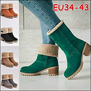 New Women Fashion Winter Fur Boots Women's Plush Warm Platform Ankle Boots Woman High Heels Shoes(Orange,US 8 (EU 39))