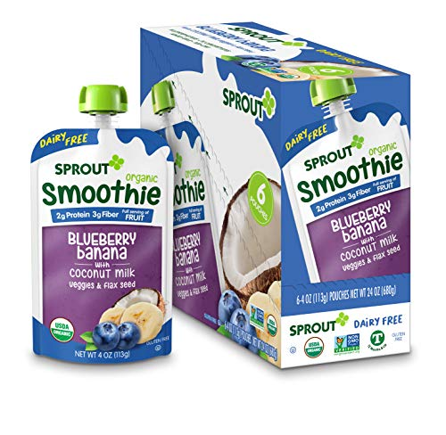 Sprout Organic Toddler Smoothie, Dairy Free Blueberry Banana, 4 Ounce Pouch (Pack of 6)