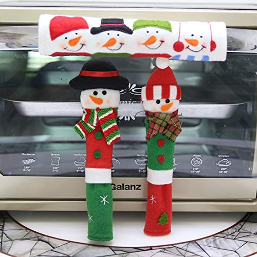 N\A Cute And Premium Christmas Decorations, 3 In 1 Christmas Style Cloth For Fridge, Microwave Oven Door Handle Cover Set, Size: 23 * 14cm hefeizanen