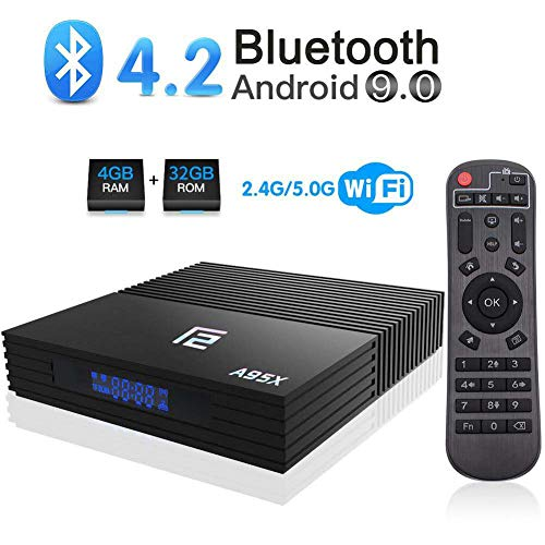 Android TV Box 【4G+32G】 A95X F2 Android 9.0 TV Box Amlogic S905X2 Quad-Core Dual-WiFi 2.4G/5.0G/ 3D 4K Ultra HD/ H.265/ USB 3.0/ HDMI 2.0 /Bluetooth 4.2 Smart Android TV Box