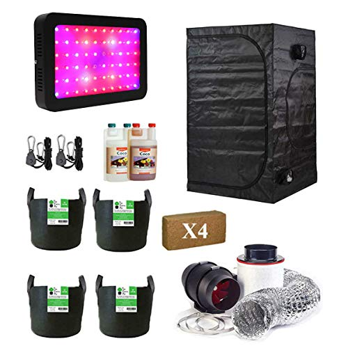 Complete Grow Tent Kit 80x80x180cm Grow Tent Coco Coir Blocks Canna Coco Fox Twin Speed Extraction Kit