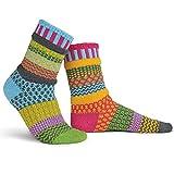 Solmate Socks Calcetines no Coincidentes para Hombres o Mujeres Hechos con Hilos de Algodon Reciclados en los Estados Unidos, Fresia Pequena