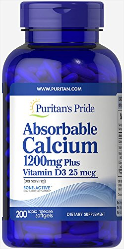 Puritan's Pride Absorbable Calcium with Vitamin D 3 1000iu Softgels, 1200 mg, 200 Count (Calcium 500mg With Vitamin D 1000 Iu)