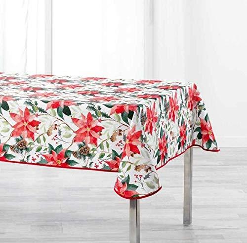 Arte Provenzale TOVAGLIA ANTIMACCHIA Natalizia Dis. LA ROSIERE Rettangolare e Rotonda, per Sala da Pranzo e Cucina (Bianco, 300_x_150 cm.)
