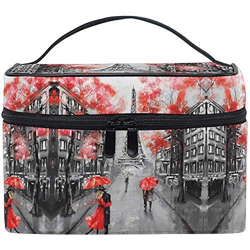 Paris Tour Eiffel France Maquillage Sac Romantique Parapluie Rouge Brosse De Toilette Transportant Portable Pochette De Rangement Sacs