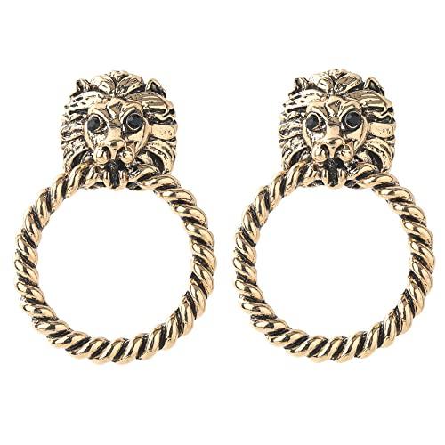 Pendientes de aleación de anillo de cabeza de león creativo para mujer estilo de corte retro temperamento joyería de oreja