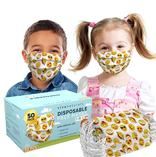 Cartoon Face Mask for Kids (50 Pack) - Premium Cartoon Childrens Masks with Comfortable Earloops & Adjustable Nose Strip