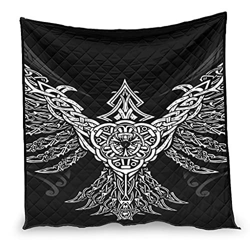 Dessionop Manta vikinga con diseño de cuervo de Odin Huginn y Muninn celta con impresión de nudos de lujo, decoración para el hogar, color blanco, 230 x 280 cm