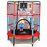 """EIH Kids Trampoline, 55"""" Small Trampoline with Safety Enclosure Net & Safety Pad,Heavy Duty Frame Round Trampoline Jump Recreational Trampoline for Kid Indoor Outdoor (Blue+Red)"""