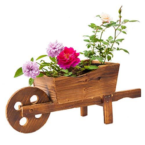 XIONGSY Holz Deko Pflanzschubkarre Gartenpflanzen-Übertopf aus Holz Schubkarre für drinnen und draußen Multifunktions Schubkarre Pflanzer Haushalt Schlafzimmer Dekorativer Behälter