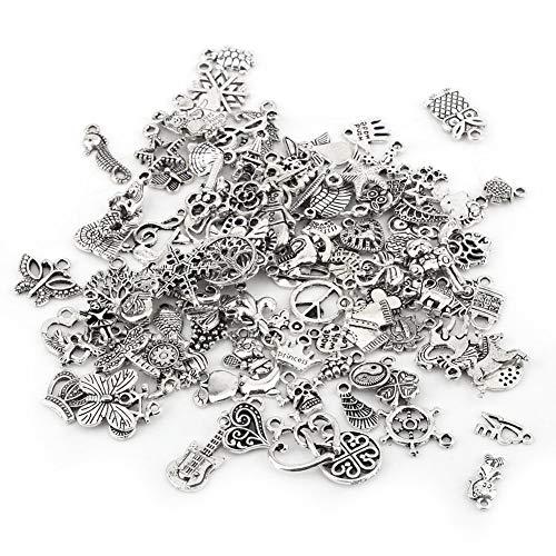 Mixed Style Glücksbringer Anhänger, 100pcs Mixed Pattern tibetischen Silber Charm Zubehör, Charms Anhänger Crafting Making, für DIY Halskette Armband Ohrringe Schmuck Making Kit