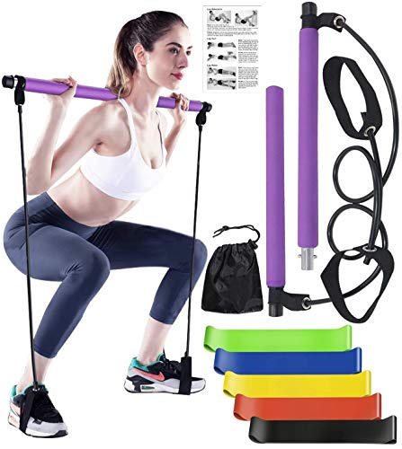 Soulmate Secret Portable Pilates Bar Kit, Yoga Pilates Stick with Resistance Band, Home Gym Pilates Yoga Exercise Bar with Foot Loop for Total Body Workout, Stretching, Sculpt, Twisting & Sit-Up