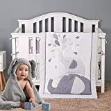 Brandream Playful Elephant Baby Crib Bedding Set for a Boy, Girl and Unisex Nursery - Baby Quilt, Fitted Crib Sheet, Crib Skirt Included, 3 Pieces Gray & Mint