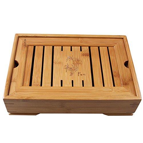 JKCOM Hoobar Teetablett aus Bambus – Chinesischer Kungfu-Teetisch, Serviertablett für Kungfu-Teeservice