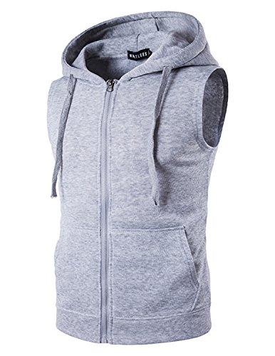 YCHENG Herren Sport Freizeit Kapuzensweatshirt mit Reißverschluss Ärmellos Shirts Weste,Grau 2, Gr.XL