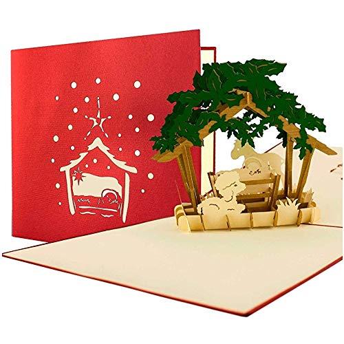 3D Weihnachtskarte Pop Up mit Umschlag, Gutschein, Geschenk, edel, christlich, hochwertig, W17
