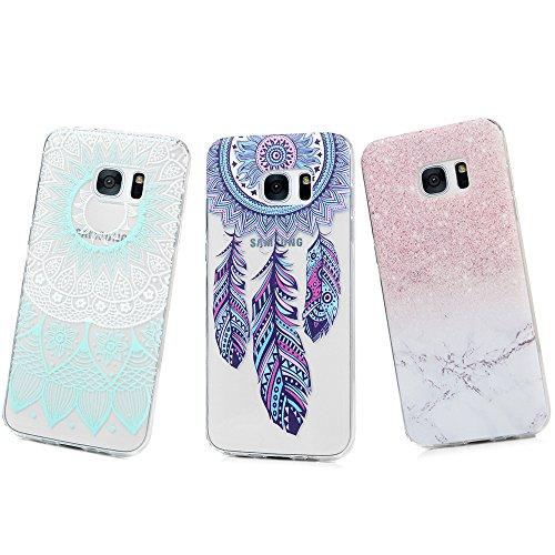 MAXFE.CO Lot de 3 coques arrière en silicone souple résistant aux chocs pour Samsung Galaxy S7 Edge