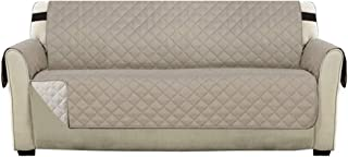 """Reversible Quilted Furniture Protector with Adjustable Elastic Strap, Seat Width Up to 66"""" Couch Covers for Pets and Kids,..."""