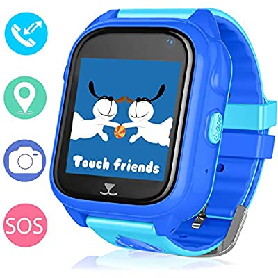 """GPS Tracker Kids Smart Watch - 1.4"""" Touch Screen Children Phone Watch with Pedometer Sleep Monitor SOS Call Camera Flashlight for Boys and Girls (Blue)"""
