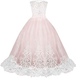203e984694928 Sunnywill Dentelle Fille Princesse Demoiselle d honneur Pageant Tutu Robe  De Robe De Mariée pour
