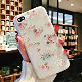 Enflamo 3D Soft TPU Flower Pattern Printed Back Cover for iPhone 7 Plus/iPhone 8 Plus (White)