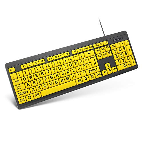 TANIX Large Print Keyboard Wired USB Computer Keyboard with High Contrast Yellow Keys and Big Print Letters for Visually Impaired and Low Vision Individuals