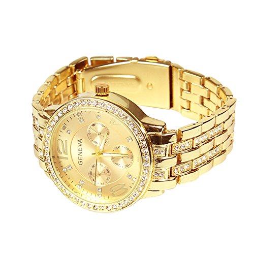 Tenflyer Dial neue Art und Weise Kristallgeschenk -Gold-Damen Herren Armband-Quarz-Armbanduhr-Geschenk