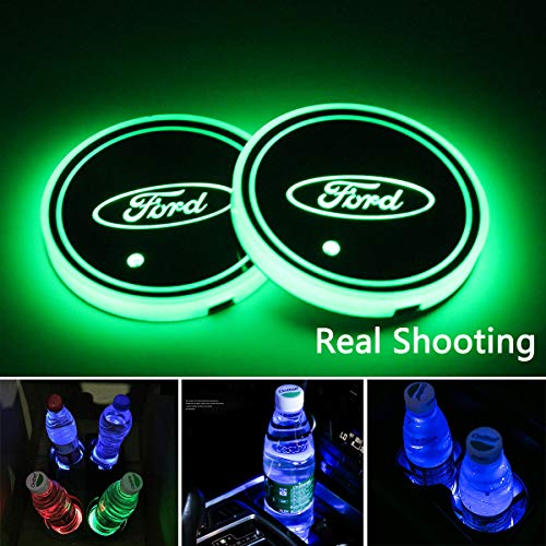 2pcs LED Car Cup Holder Lights for Ford, 7 Colors Changing USB Charging Mat Luminescent Cup Pad, LED Interior Atmosphere Lamp
