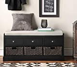 Storage Bench Entryway Bench Shoe Bench with Storage and Cushion and 3 Drawers and 3 Baskets for Living Room and Bedroom Black
