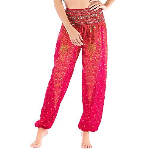 Nuofengkudu Damen Haremshosen High Waist Hippie Muster Baumwolle Pumphosen mit Taschen Leicht Weite Luftige Stoffhose Yogahose Sommerhose Strandhose(Einheitsgröße,Rose Pfau)