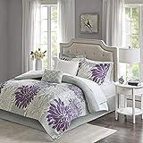 Madison Park Essentials Maible Comforter Medallion Damask Design with Bonus Cotton Sheet Season Bed Set with Matching Sham, Decorative Pillow, Queen(90'x90'), Floral Purple/Gray