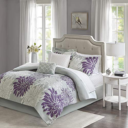 Madison Park Essentials Maible Cozy Bed in A Bag Comforter with Complete Cotton Sheet Set-Floral Medallion Damask Design All Season Cover, Decorative Pillow, Queen(90'x90'), Purple/Gray