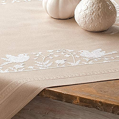 Vervaco Cross Stitch Tablecloth Kit White Birds PN 0013116 product image