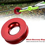 Keeboot Winch Snatch Recovery Ring for ATV UTV SUV Truck Rcovery (41000 lb, Red Ring, 1 Pack)