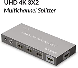 ÜnnLInk 3x2 HDMI Multichannel Splitter 3 in 2 Out HDMI Splitter/Switcher HDMI v1.4 UHD 4K@30Hz HDCP 1.3 Free Power Design IR Remote Compatible for HDTV, Blu-Ray, DVD or HD-DVD Players, PS3