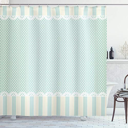 """Ambesonne Shabby Flora Shower Curtain, Traditional Old Fashioned Vertical Stripes Ornaments and Dots, Cloth Fabric Bathroom Decor Set with Hooks, 75"""" Long, Green White"""
