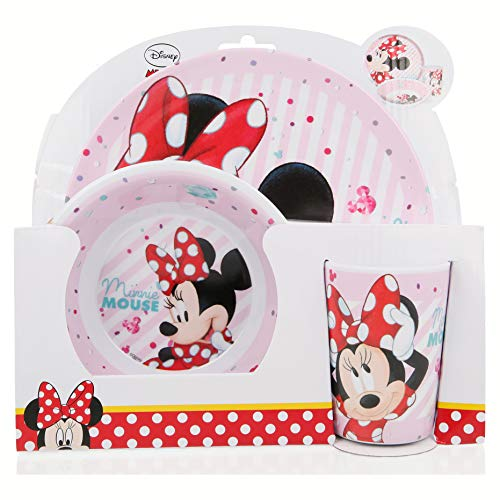 SET MELAMINA 3 PCS. (PLATO, CUENCO Y VASO) MINNIE MOUSE - DISNEY...