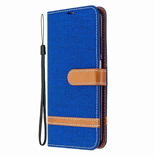 Funda para Samsung Galaxy A12, de piel sintética a prueba de golpes, con cierre magnético, soporte para tarjetas, suave TPU para Samsung Galaxy A12, color azul